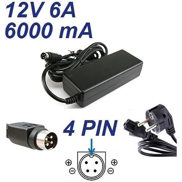 CARGADOR ESP ® Cargador Corriente 12V 6A 4 Pin Compatible con ...