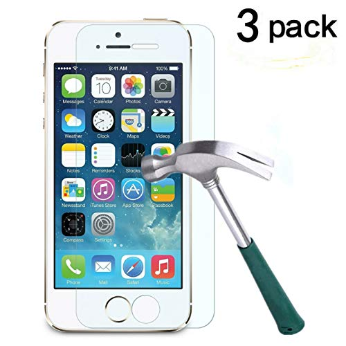 TANTEK LLL63 iPhone 5/5C/5S/SE Screen Protector, Anti-Bubble, HD Ultra Clear, Premium Tempered Glass - 3 Piece (Best Screen Protector For Iphone 5s)