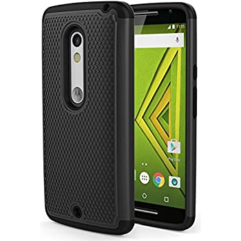 Droid Maxx 2 Case, MoKo [Shock Absorption] Slim Dual Layer Protective Case with Soft Silicone Bumper and Rigid PC Back Cover for Motorola Droid Maxx 2 / Moto X Play - Black