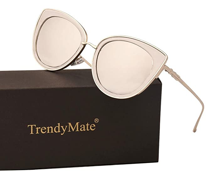4edf26aa9da9 TrendyMate Women Metal Cute Cat Eye Sunglasses Mirror Lens Coating Sunglasses  Fashion Eyewear (Silver,