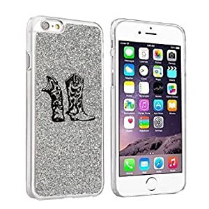 Apple iPhone 6 Plus / 6s Plus Glitter Bling Hard Case Cover Cowboy Cowgirl Boots (Silver)