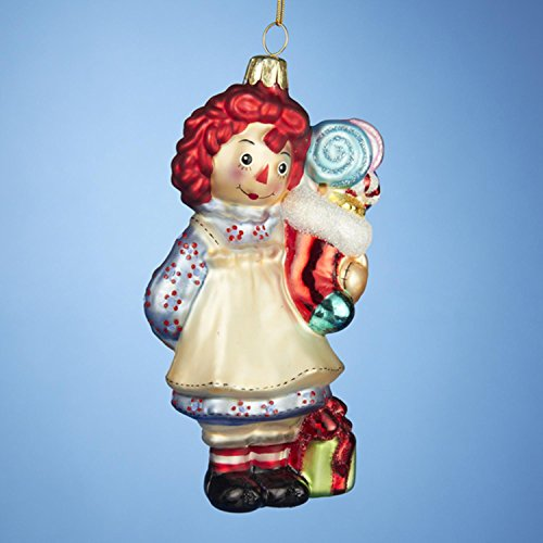 KSA Pack of 6 Raggedy Ann with Stocking Glass Christmas Ornaments ()