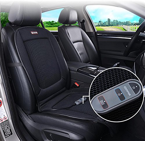 DIELIAN Heating & Cooling Car Seat Cushion Pad Cover with Double-Zone Breathable 3D Ventilated Holes
