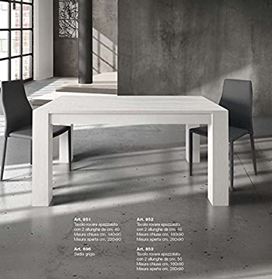Tables & Chairs Mesa Extensible Blanco con encimera de madera ...