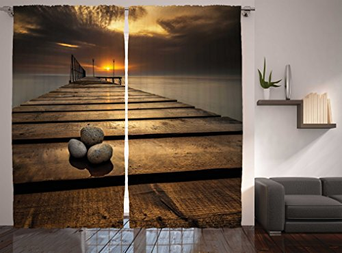 Ambesonne Ocean Curtains, Black Sea at Dusk Sunrise Tranquil Scene Coastline with Wooden Pier Picture, Living Room Bedroom Window Drapes 2 Panel Set, 108 W X 84 L Inches, Brown Grey