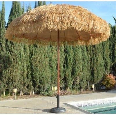 NEW 8 Wide Hawaiian Tiki Design Beach Umbrella w Fiberglass Rib Aluminum Pole