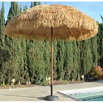 NEW 8 Wide Hawaiian Tiki Design Beach Umbrella w Fiberglass Rib Aluminum Pole