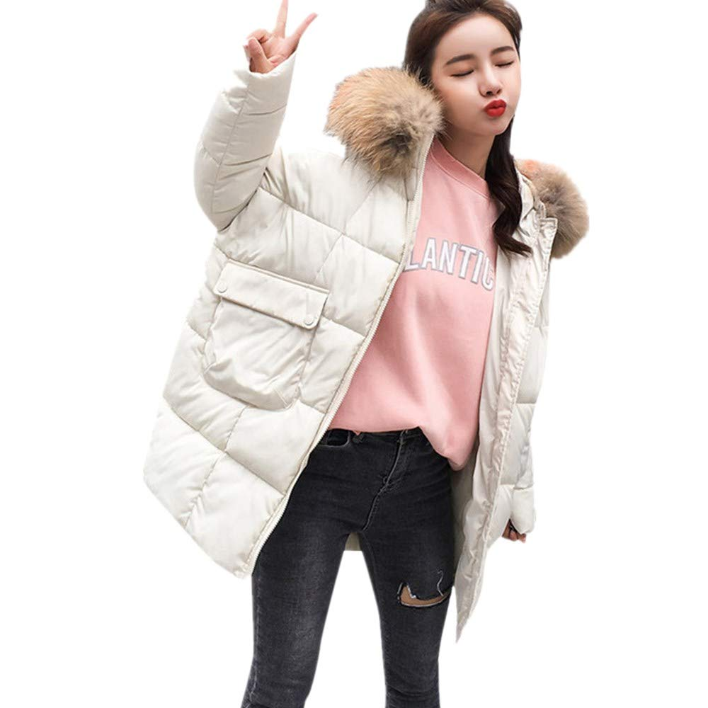 NUWFOR Women Quilted Faux Fur Jackets Warm Parka Lined Belted Insulated Puffer Coats for Winter White