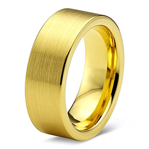 Charming Jewelers Tungsten Wedding Band Ring 8mm for Men Women Comfort Fit 18K Yellow Gold Plated Flat Cut Brushed Polished Size (18k Gold Thick Band)