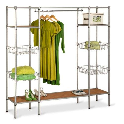Honey-Can-Do WRD-02350 Freestanding Steel Closet System with Basket Shelves, 67 by 68-Inch