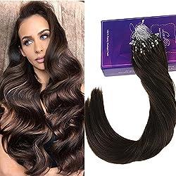 LaaVoo Brown Hair Extensions 14inch Keratin Beads Micro Loop Human Hair 1g/s 50 Strands Per Pack