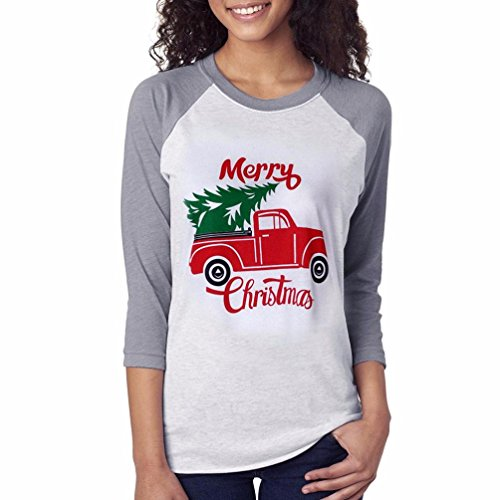 Women Blouse Christmas Daoroka Women's Sexy Xmas Long Sleeve Thin Pullover Sweatshirt Blouse Tops Merry Christmas Cat Tree Print Comfortable Simple Casual Ladies Loose T-Shirt Tunic Tops (M, Grey)