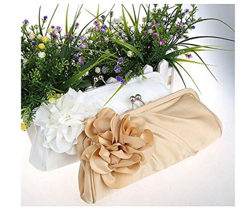Handbag Vintage Evening Flower Satin Cocktail Party Big Apricot Envelope Womens nqZRwpxn