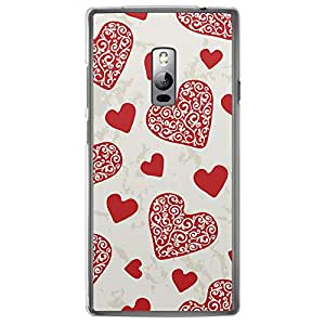 Loud Universe OnePlus 2 Love Valentine Printing Files Valentine 11 Printed Transparent Edge Case - Red/Off White