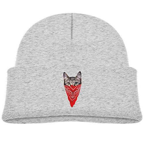 Kids Knitted Beanies Hat Gangster Cat Printed Winter Hat Knitted Skull Cap for Boys Girls -