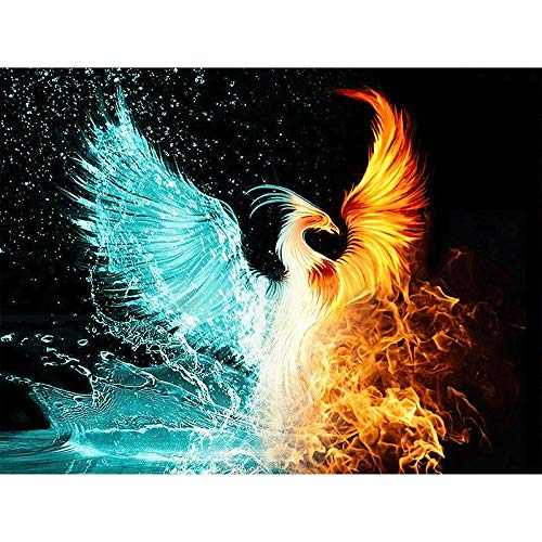 DIY Oil Paint by Number Kit for Adults Beginner 16x20 Inch - Ice and Fire Phoenix,Drawing with Brushes Christmas Decor Decorations Gifts (Framed)