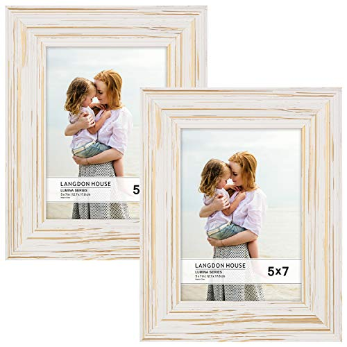 - Langdons 5x7 Real Wood Picture Frames (2 Pack, Weathered White - Gold Accents), White Wooden Photo Frame 5 x 7, Wall Mount or Table Top, Set Of 2 Lumina Collection