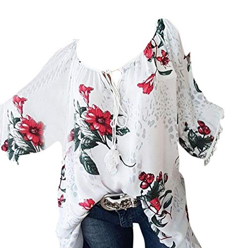 Clearance Women Tops LuluZanm Bandage Strapless Top Floral Print Blouse Fashion Plus Size O-Neck T-Shirt