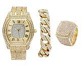 Bling-ed Out Gold Barrel Shape Hip Hop Watch w/Cuban Bracelet and Size 9 Bling Ring - L0492GCuban3Set(9)