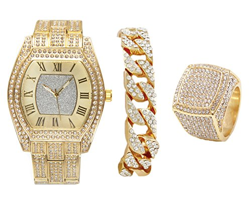 Bling-ed Out Gld Barrel Shape Hip Hop Watch w/Cuban Bracelet and Size 10 Bling Ring - ()