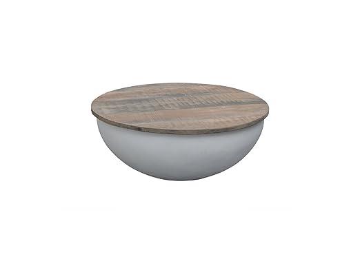 Esto Gmbh Couchtisch Bowl Sophie Metall Weiß Mango Massiv