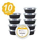Amazon Warehouse Deals Best Deals - [10 Pack] Round Bento Lunch Boxes Food Storage Containers with Airtight Lids by LAGUTE, BPA Free Reusable & Stackable, Microwave and Dishwasher Safe 32 Oz