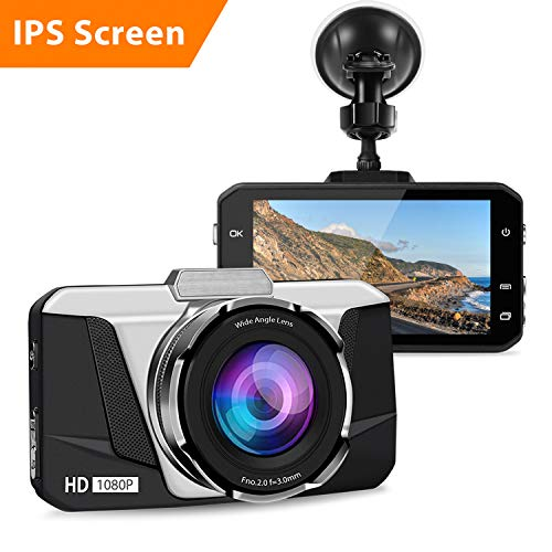 Dash Cam, 1080P HD Car DVR Dashboard Camera Recorder with 3 IPS Screen, Night Vision, 170° Wide Angle, G-Sensor, WDR, Loop Recording and Motion Detection