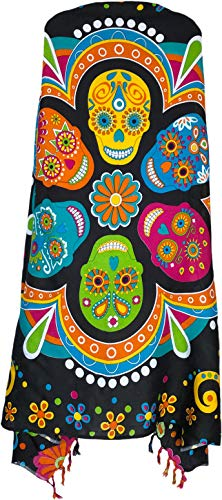 Sarong Wrap From Bali Your Choice of Design Beach Cover Up (Day of the Dead Black)