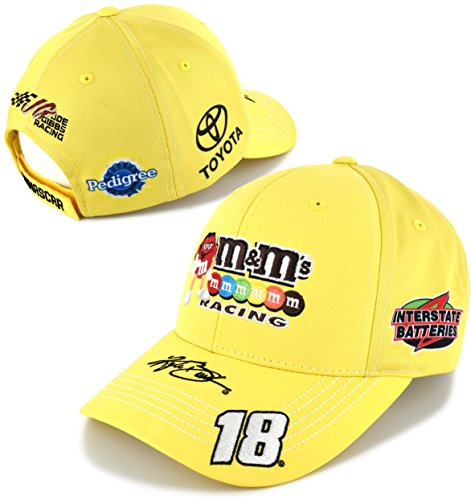 NASCAR Adult Driver/Sponsor Uniform Adjustable Hat/Cap-Kyle Busch #18-M&M's (Nascar Busch Race)