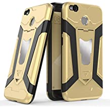 Xiaomi Redmi 4X Case, Ranyi [3 Piece Full Body Armor] [Built-in Kickstand] [Shock Absorbing] Metal Texture Rugged Rubber 360 Protective 3 in 1 Case for Xiaomi Redmi 4X / Hongmi 4X 5.0 Inch (gold)