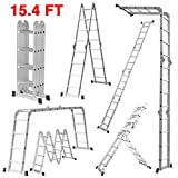 Finether 15.4 FT Extendable Aluminum Folding Ladder with Safety Locking Hinges 4 Folds 16 Rungs