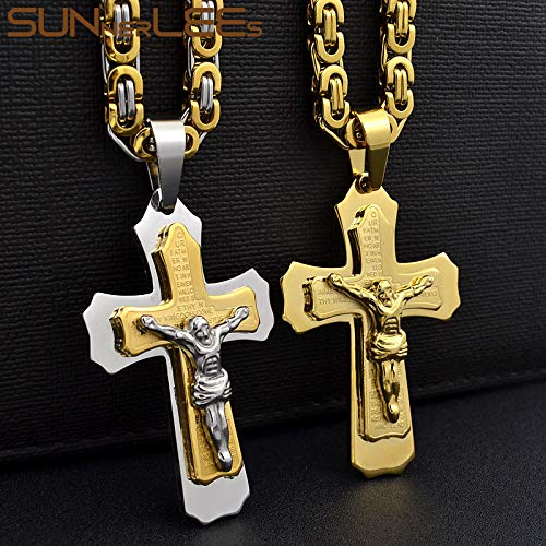 Davitu Gold Color Stainless Steel Jesus Christ Cross Pendant Necklace Byzantine Link Chain for Men SP216 Metal Color: Gold-Silver, Length: 50cm