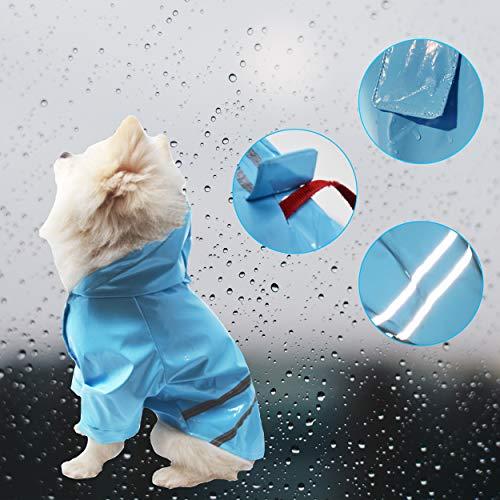 Cutie Pet Dog Raincoat Waterproof Coats for Dogs Lightweight Rain Jacket Breathable Rain Poncho Hooded Rainwear with Safety Reflective Stripes (XL, Blue)