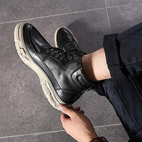 FIESSO Round Toe Reitstiefel for Männer Ankle Boot Lace Up Style Premium-echtes Leder Wasserdicht Easy Care Sohle High Top (Color : Schwarz, Größe : 41 EU)  5fvIl