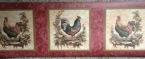 Border Rooster Red (York Wallcoverings Rooster Pre-pasted Wallpaper Border With Red Background KG8723B)
