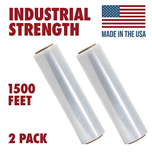 18 Inch X 1500 feet Tough Pallet Shrink Wrap, 80 Gauge Industrial Strength, Commercial Grade Strength Film, Moving & Packing Wrap, For Furniture, Boxes, Pallets (2-Pack)