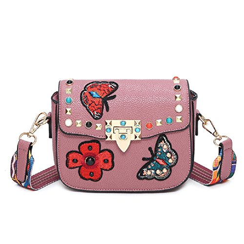 GZHOUSE Stylish PU Leather Embroidered Cross Body Shoulder Messenger Bag Handbag with Colorful Wide Strap Pink