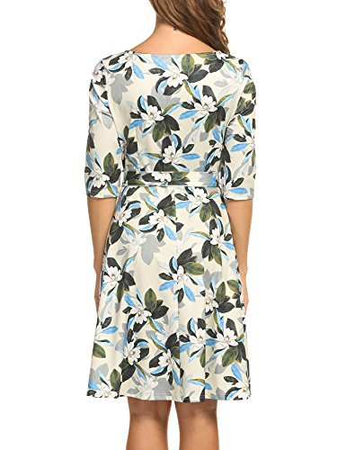 Meaneor Damen Kragen in Wellenform Kleid 3/4 Ärmel Skaterkleid Falten Kleid A-Linie Kleid Stretch Basic Kleid Elegant