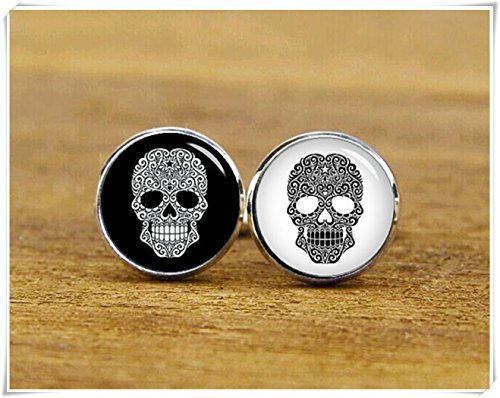 Black & White Swirling Dome - White and Black Swirling Sugar Skull Cufflinks vintage personalized cuff links