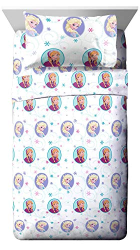ozen Swirl Full Sheet Set - Super Soft and Cozy Kid's Bedding Features Anna & Elsa - Fade Resistant Polyester Microfiber Sheets (Official Disney Product) ()