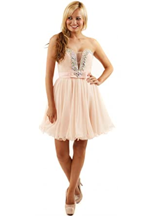 Forever Unique Bijou Dress Embellished Nude Chiffon Prom Dress Nude UK 12