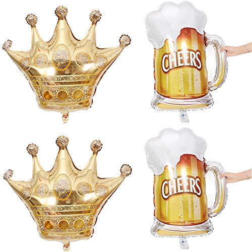 MeySimon 4PCS Gold Crown Foil Mylar Balloons Helium