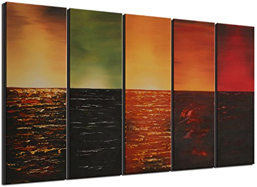 Ode-Rin Art Christmas Gift Hand Painted Oil Paintings Gift Colorful Square 5 Panels Wood Inside Framed Hanging Wall Decoration