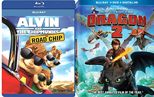 Alvin & the Chipmunks: The Road Chip & How To Train Your Dragon 2 Blu Ray Animated Bundle Cartoons movie Set