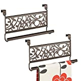 kitchen bar cabinet designs mDesign Kitchen Over Cabinet Strong Steel Towel Bar, Decorative Organic Design - Hang on Inside or Outside of Doors, Storage and Organization for Hand, Dish, Tea Towels - 9