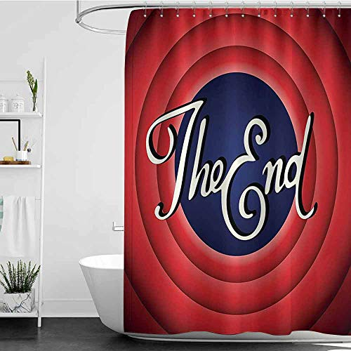 shower curtains fabric victorian 1950s Decor Collection,Movie Ending Screen Academy Dated Broadcast Entertainment Show Oscar Cinema Frame Image,Red Navy White W48