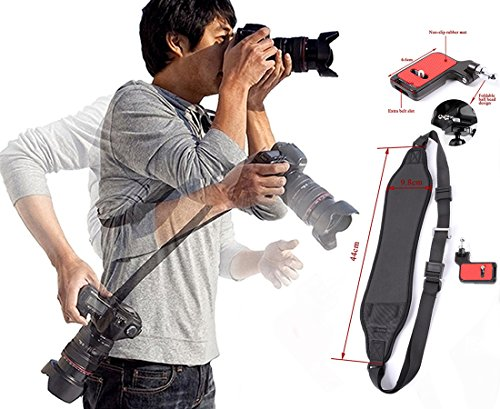 OSAYES Quick Rapid Shoulder Kamera Sling Gurt Kamera Tragegurt Schultergurt für SLR DSLR Nikon Sony Canon Kameras Schwarz