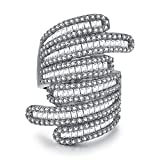 Serend Baguette Design 18k White Gold Plated Cubic Zircon Crystal Cocktail Rings for Womens Girls, Size 7