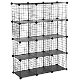 SONGMICS Metal Wire Cube Storage,12-Cube Shelves Organizer,Stackable Storage Bins, Modular Bookcase, DIY Closet Cabinet Shelf, 36.6'L x 12.2'W x 48.4'H, Black ULPI34H