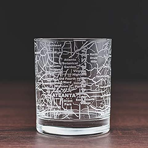 Greenline Goods Whiskey Glasses – 10 Oz Tumbler for Atlanta Lovers (Single Glass)| Etched with Atlanta Map| Old…
